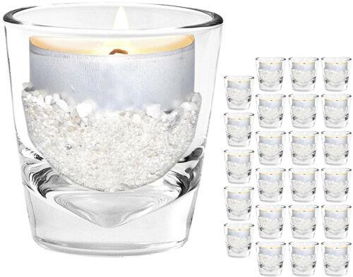 24 Teelichthalter [ Mini Windlicht ] Teelichtgläser Glas für Teelichter Set