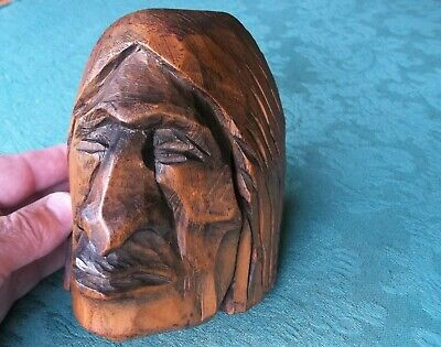 Vintage American Indian Wooden Carved Head