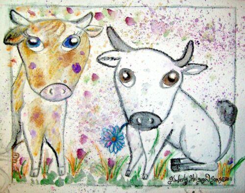 CATTLE in the Garden Cow Farm Vintage Art Print 5x7 Signed by Artist KSams
