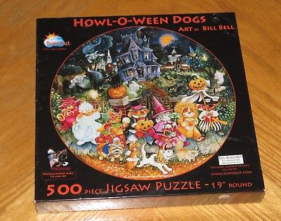 Bill Bell Art - Howl O Ween Dogs in Halloween Costumes - 500 Pc Puzzle - Sealed