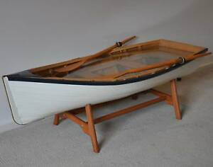 Wooden Row Boat Coffee Table Marine Nautical Furniture Glass Top