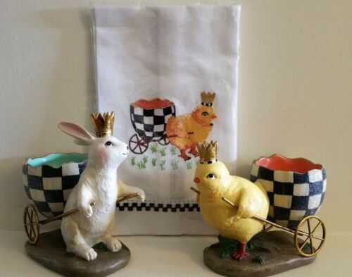 MacKenzie Childs 4 Piece SPRING DECOR EGG HUNT BUNNY CHICK CART Matching Towels