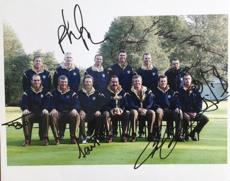 Ryder Cup 2002 signed by 8 European Players 10x8 photo UACC RACC Trusted AFTAL
