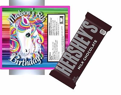 10 RAINBOW UNICORN BIRTHDAY HERSHEY BAR WRAPPERS FOILS PARTY FAVORS - Personalized Hershey Bar Wrappers