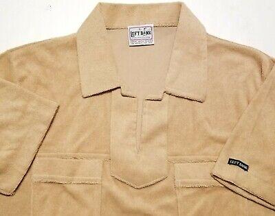 1970s Men's Shirt Styles – Vintage 70s Shirts for Guys Vintage 1970s Left Bank Tan Terry Cloth Open Polo Medium Shirt $30.00 AT vintagedancer.com