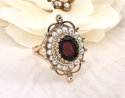 Antique Style 14k Yellow Gold Genuine Garnet & Pearl Ring, Size 6.5