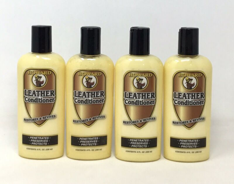 4-Pk HOWARD LEATHER Conditioner 8oz ea, Cream Penetrates Preserves Protects (D)