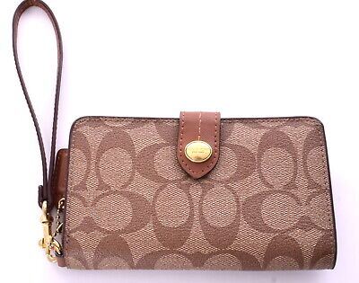 COACH Brown Signature C  Coated Leather Wristlet Wallet