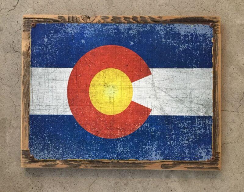 Colorado State Flag Rockies Rocky Mountains Ski Skiing Vintage Metal Sign Decor
