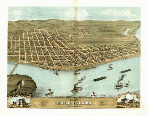 1869 ROCK ISLAND ILLINOIS panoramic map GENEALOGY poster IL50