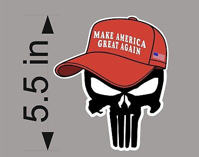 TRUMP PUNISHER HAT with hair decal bumper sticker funny pro USA NRA - Funny Hats With Hair