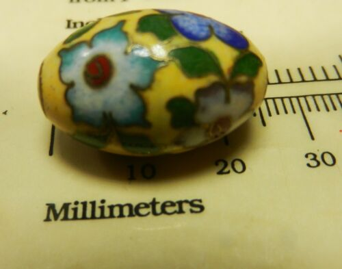 Vintage Chinese Enamel Cloisonne Yellow Oval 22 mm Bead Beautiful Flowers 1970