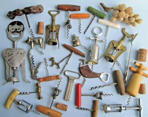 Vintage CORKSCREW WINE OPENERS Lot of 25 Figural MONOPOL Brass WILLIAMSON Italy