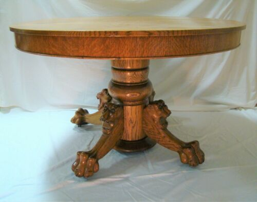"Antique Round Oak Dining Table 48"" Lion Head Claw Foot"