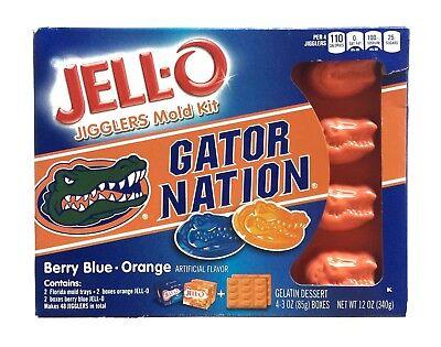 Florida Gators Jell O Jigglers Mold Kit Gator Nation Berry Blue and Orange Color