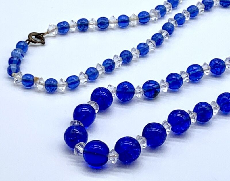 Vintage Collectible Blue Crackle Glass Clear Glass Beads Graduated Necklace