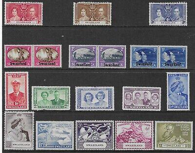 SWAZILAND 1937-49 OMNIBUS SETS MH. SG. 27 - 27, 39 - 51.  (2179)