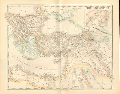 1874 ca LARGE ANTIQUE MAP- FULLARTON - TURKISH EMPIRE