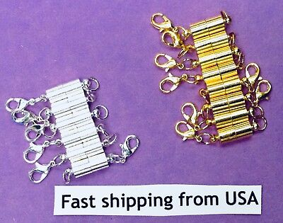 Strong Magnetic Clasp Necklace Converter Extender USA Gold or Silver Plated - Magnetic Clasp