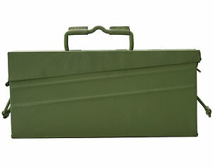 ORIGINAL NEW GENUINE GERMAN MILITARY ARMY MG42 AMMO METALLIC OLIVE BOX CAN TIN