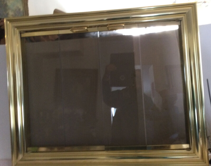 """VINTAGE POLISHED BRASS FIREPLACE FRONT WITH GLASS ACCORDEN DOORS 36"""" X 29"""""""