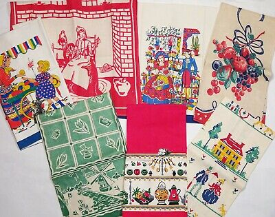 Vintage 1940s-50s Estate Lot of 7 Novelty Printed Cotton KITCHEN TOWELS
