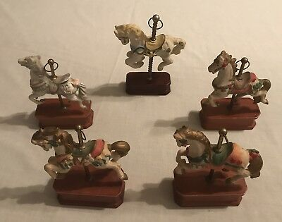 5 Count Lot ~ Vintage Porcelain/Ceramic CAROUSEL HORSES on Wooden Bases **NICE**