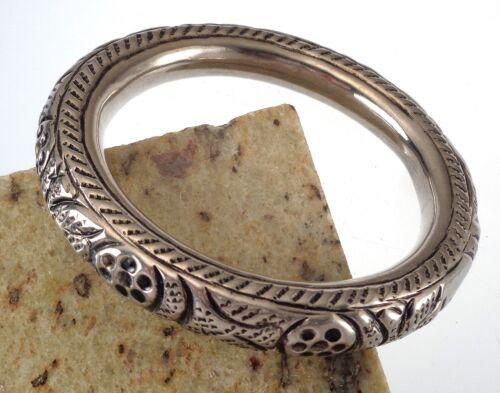Antique Victorian Silver Plate Hollow Repousse Jingle Chime Bangle Bracelet
