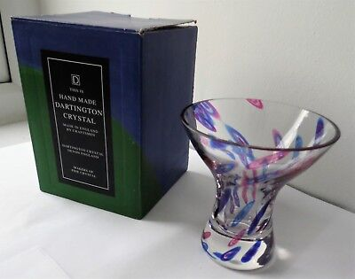 MODERN DESIGN BLUE AND RED MILLEFIORI CRYSTAL GLASS VASE BY DARTINGTON CRYSTAL