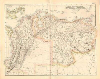 1874 ca LARGE ANTIQUE MAP- BARTHOLOMEW - SOUTH AMERICAN STATES, NEW GRANADA, VEN