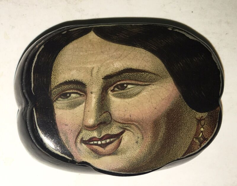 Antique Paper Mache Snuff Box Comical Woman -  Early 19th Century