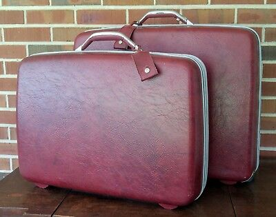 Vintage Samsonite Red Maroon Hardside Luggage Suitcase Set  - 2 Pieces