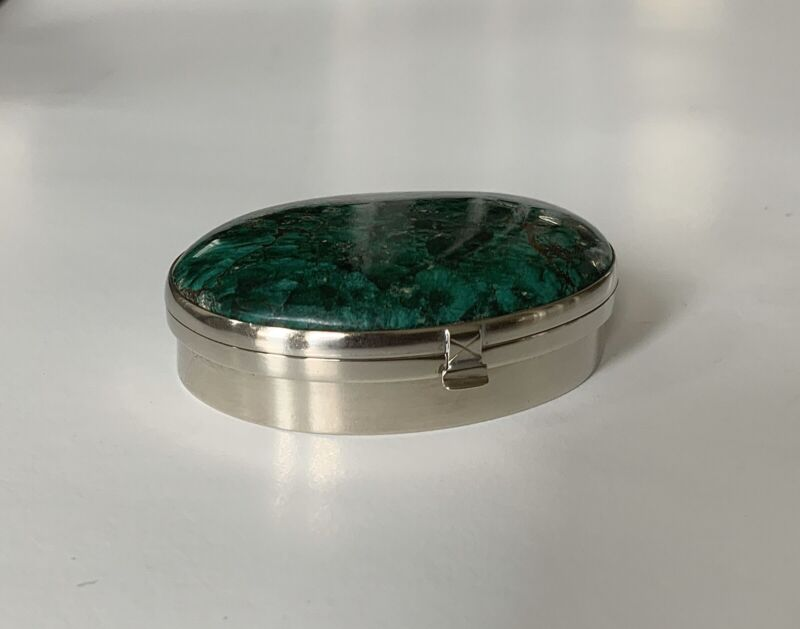Antique Malachite Stone & Silver Box