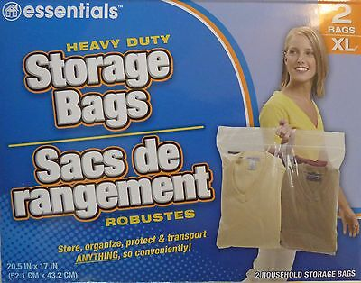 "2 ~ New BIG XL LARGE Plastic STORAGE BAGS w Handle 20""x17"" Zip Loc Clothes BAG"