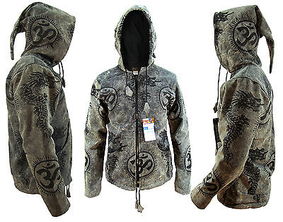 Hippie Boho Vintage Retro Cotton Om Dragon Fleece Lined Jacket Festival Nepalese