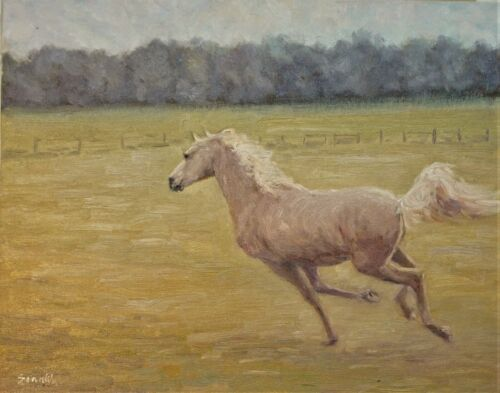 "Sean Wu, Original 16x20"" oil on stretched canvas, horses"