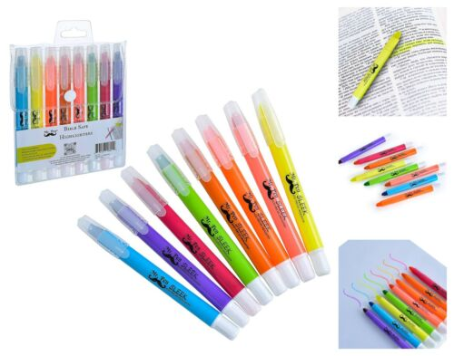 Assorted Colors Dry Highlighters 8-Pack Bible Safe No Bleed Gel Highlighters