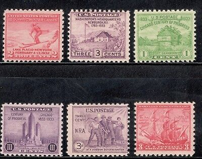 80+ Year Old Mint US Postage Stamps Vintage Set Of 6 (716/736) Ships Free (A-53)