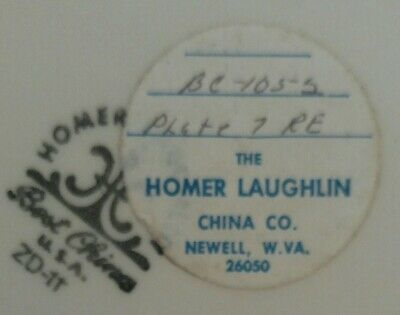 2 NOS Homer Laughlin Best China dinner plates with factory stickers RARE 2 Homer Laughlin China
