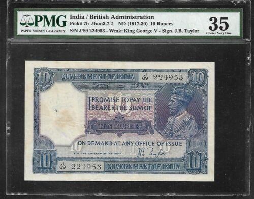 INDIA - Old 10 Rupee Note (1917/30)  P7b - PMG 35 Choice VF