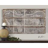 NEW LARGE BEAUTIFUL ANTIQUED CITY MAP PRINT WALL ART ON RUSTIC WOOD FRAMELESS