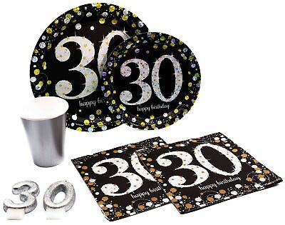30th Milestone Birthday Paper Plates, Napkins, Cups & Candles Set for 15](30th Birthday Cups)