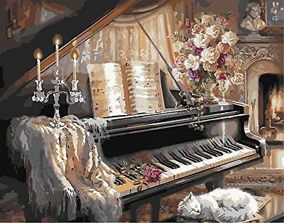 CaptainCrafts New Paint by Number Kits - Piano and Cat 16x20 inch Frameless -...