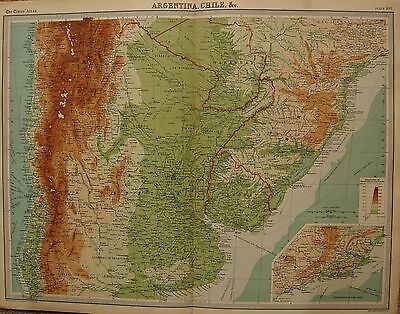 1920  LARGE  MAP : ARGENTINA, CHILI &c