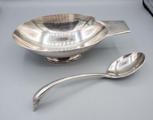 Christofle Gallia Silverplate Swan Gravy Bowl & Ladle Christian Fjerdingstad