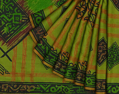 Vintage Green Saree Geometric Printed Pure Silk Craft Deco Fabric 5YD. -PS58248