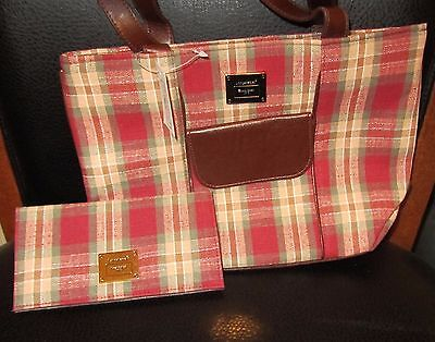 Longaberger PLAID TOTE Bag PURSE & CHECKBOOK ORCHARD PARK Fabric NWT