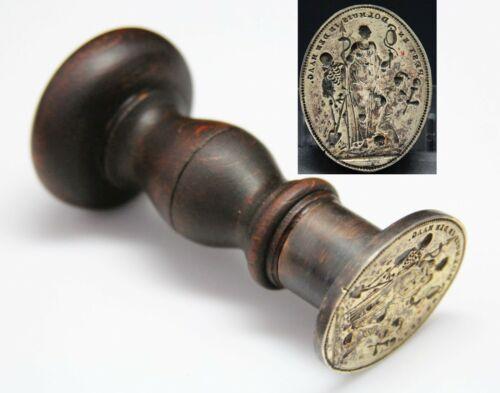antique 16th - 17th C. Wax Seal, plague mental asylum, Pesthuis Dolhuis Den Haag