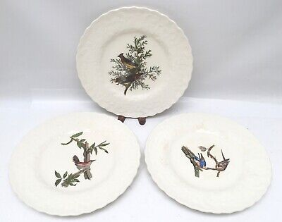 3 Alfred Meakin Birds of America Dinner Plates Pigeon Wren Cedar Crazed