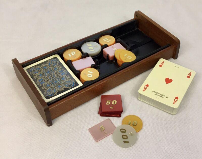 MASENGHINI BERGAMO POKER PLAYING CARDS/CHIPS BEAUTIFUL BURL WOOD CASE